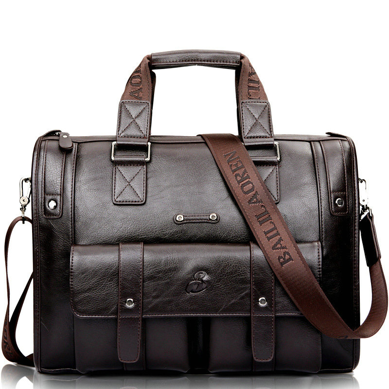 Black Briefcase Messenger-Bags Travel-Bags Business-Handbag Laptop Vintage-Shoulder-Bag