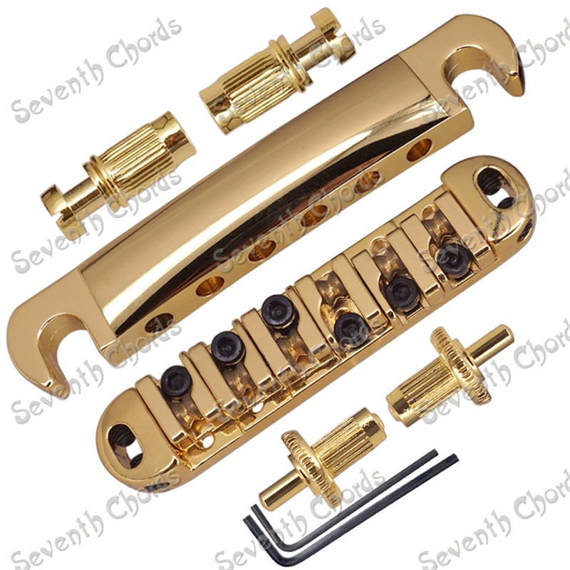 A Set Gold Roller Saddle Bridge and Tailpiece For Electric Guitar Small Stopbar studs kaish lp tune o matic roller saddle bridge tailpiece stopbar set for lp gold