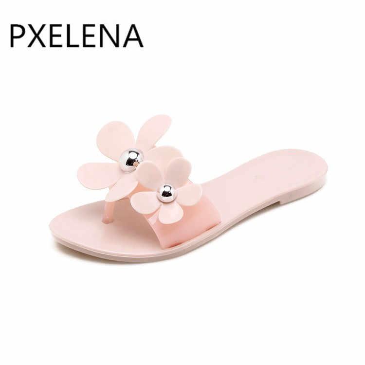 dbbe98e48 ... PXELENA/цветок силиконовая обувь для девочек Пляжные сланцы милые  плоские мягкие Летние тапочки женская обувь ...