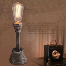 LOFT American Industry Vintage Nostalgia Wrought Iron Water Pipe Bar Cafe Table Lamp Bedroom Bedside Desk Lamp Desktop Lighting(China)