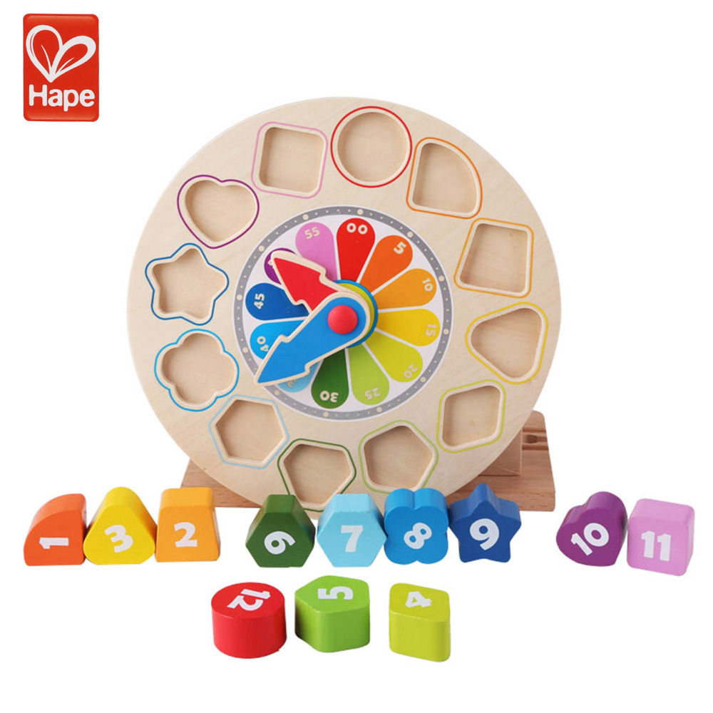 HAPE Wood Building Blocks Boys Girls Clock Time Educational Brain Game Children Gift Toy Cognitive Baby Kids Enlightenment все цены