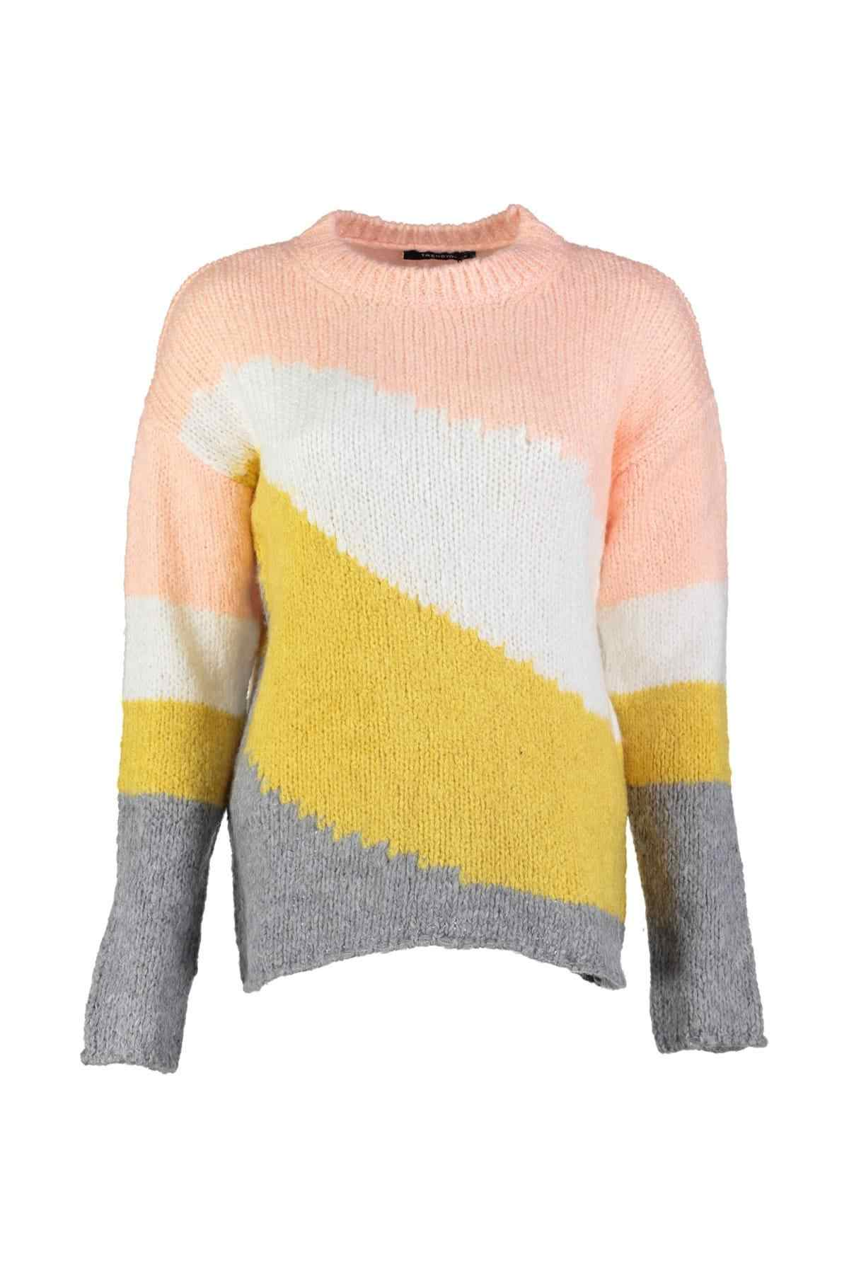 Trendyol Gray Colorblock Sweater Sweater TWOAW20ZA0032