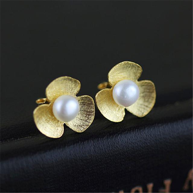 Natural Pearl 925 Sterling Silver Stud Earrings