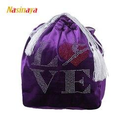24 colores Gimnasia Rítmica bolsa de bola RG protección profesional terciopelo tela accesorios gimnasio chica letras Diamante de imitación