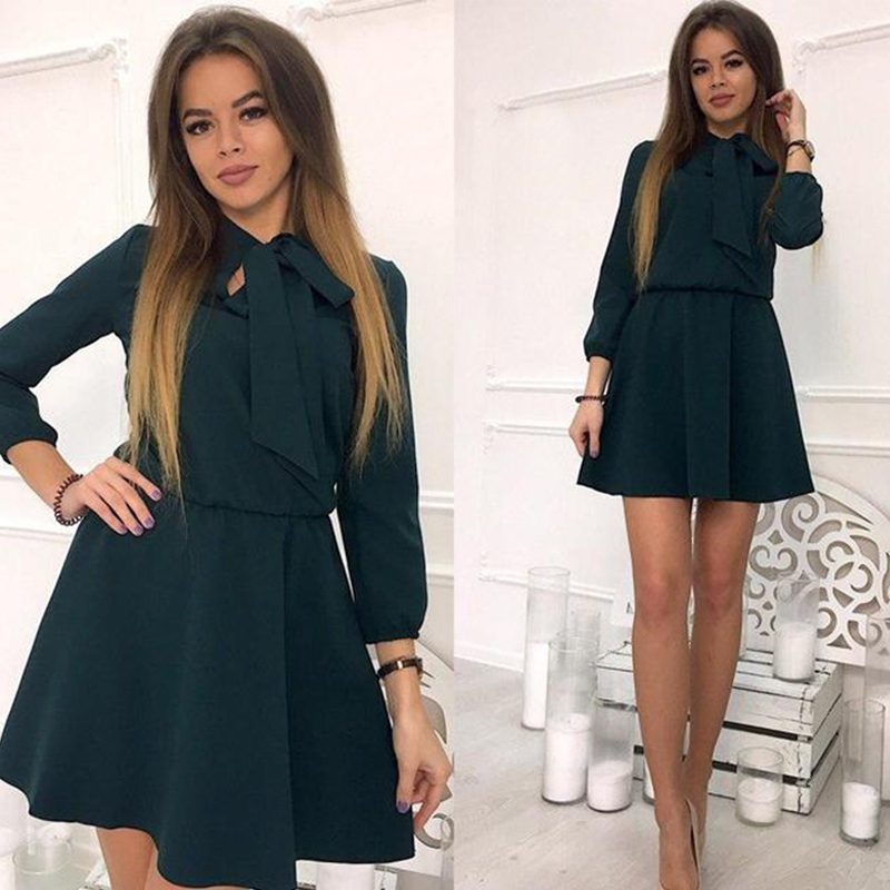 b5746deea0 Women Dress Fall 2018 Fashion Solid Vintage Elegant Mini Dress Autumn Bow  Causal Christmas Party Dresses Plus Size-in Dresses from Women's Clothing  on ...