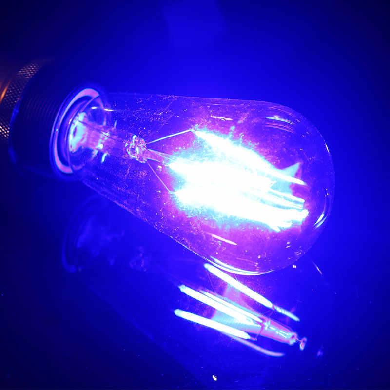 A cor conduziu a ampola st64 da ampola do bulbo do filamento de e27 220 v conduziu a lâmpada colorida de edison lampara para para a decoração da casa do vintage azul/vermelho/rosa/verde