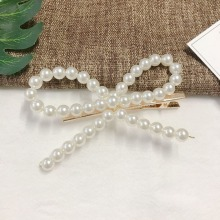 1 Piece Hairpin Sweet Imitiation Pearl Hair Clips Fashion Women Hollow Bowknot New Accessories