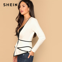 SHEIN Beige Contrast Trim Fitted Peplum V neck Long Sleeve Long Coat 2019 Autumn Casual Modern Lady Women Coat Outerwear