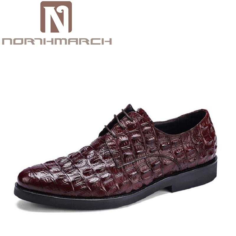 NORTHMARCH New Arrived Brand Men Shoes Black Oxfords Shoes Crocodile Men Flat Business Formal Shoes Lace-up Men's Dress shoes mycolen new arrived brand men shoes black oxfords shoes pointed toe men flat business formal shoes lace up men s dress shoes