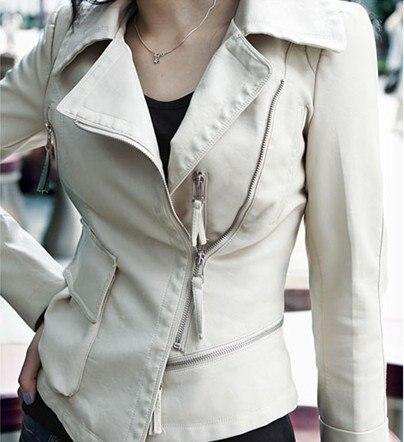 Sexy women's leather jacketKorea Style Ladies leather short White