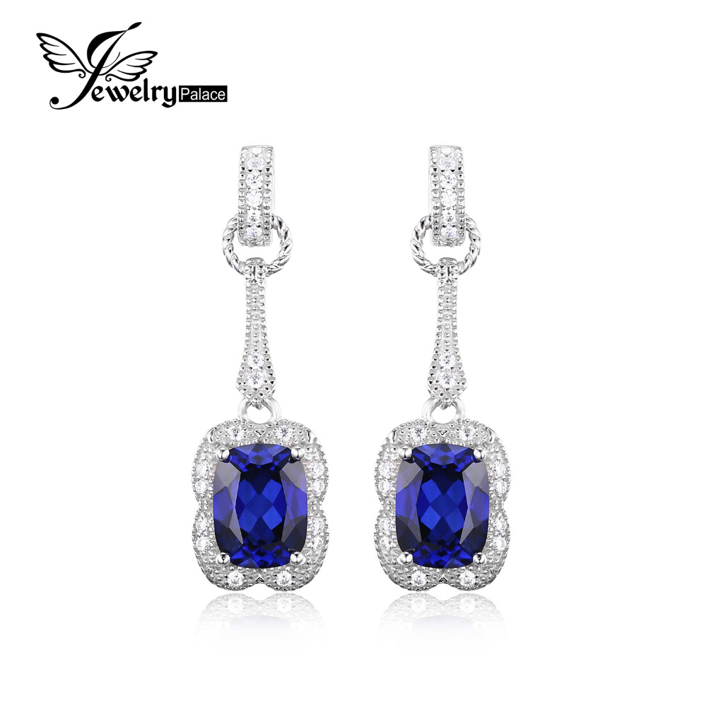 Jewelrypalace Elegant Rectangle 37ct Created Blue Sapphire Drop Dangle  Earrings 925 Sterling Silver Brand Jewelry For Women New