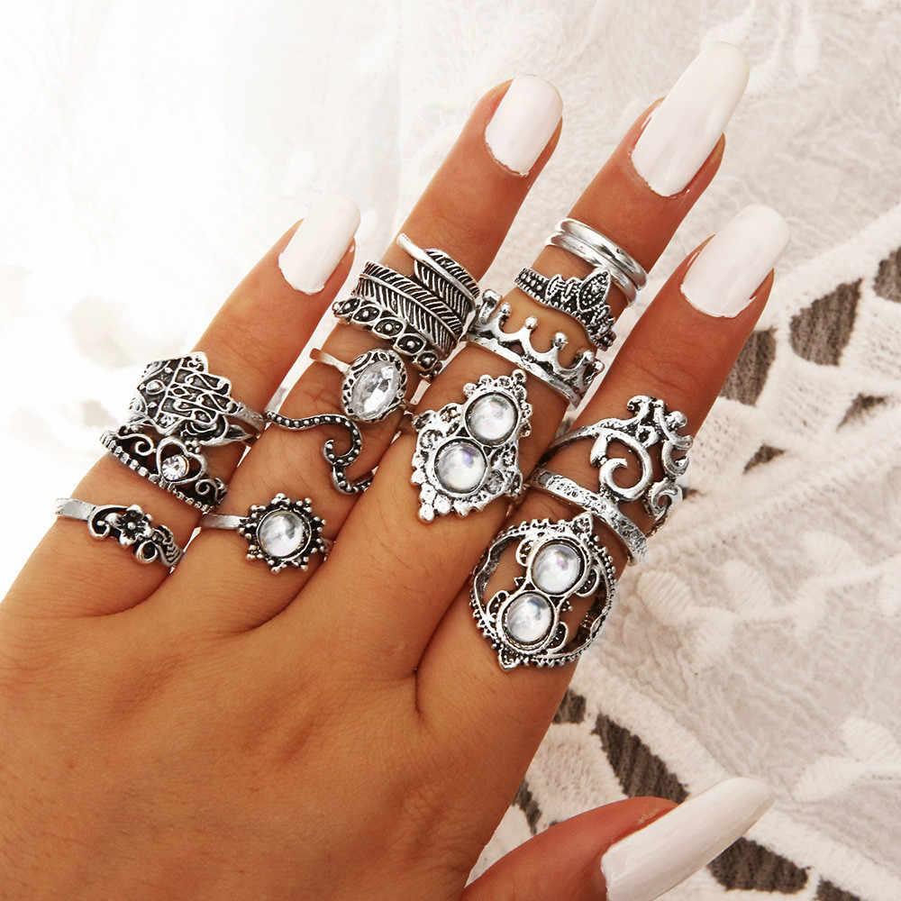 16 stks/set Vintage Knuckle Ringen voor Vrouwen Legering Ster Maan Geometrische Crystal Ring Set Bohemian Midi Vinger Sieraden Bague Femme