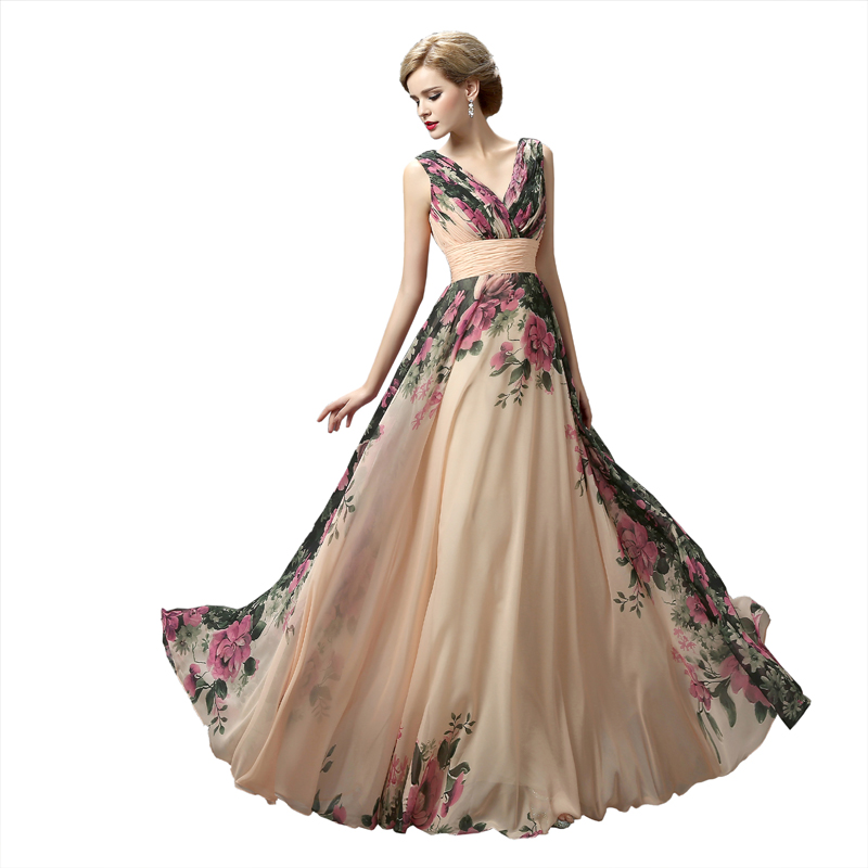 Long Evening Dresses Real Photos 3 Style Floral Flower -8046