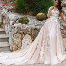 2019 Fashionable Light Pink Backless Wedding Dresses with White Lace Floral Appliques 3D Bridal Gowns 2019 Vestido De Casamento(China)