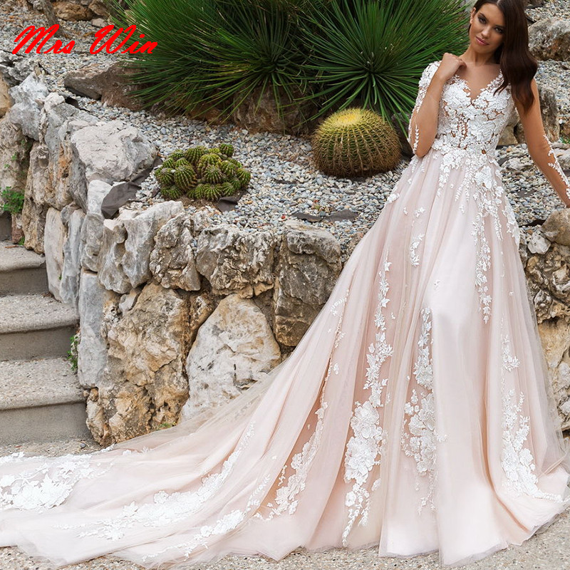 Pink And White Wedding Gowns: 2019 Fashionable Light Pink Backless Wedding Dresses With