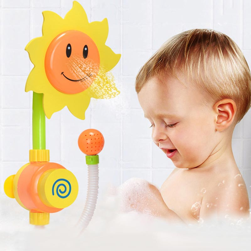 Water Shower Spraying Tool Sunflower Baby Bath Toys Bathing Tub Fountain Toy Kids Gifts -17 NSV775