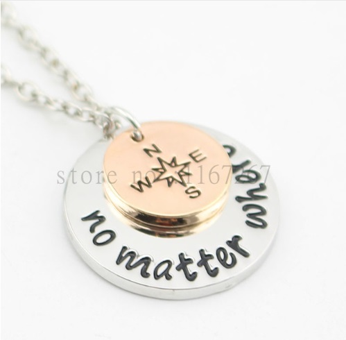 2015 new arrive Hand Stampedno matter where  Necklace compass Best Friends Necklace Long Distance Relationship Necklace no matter what