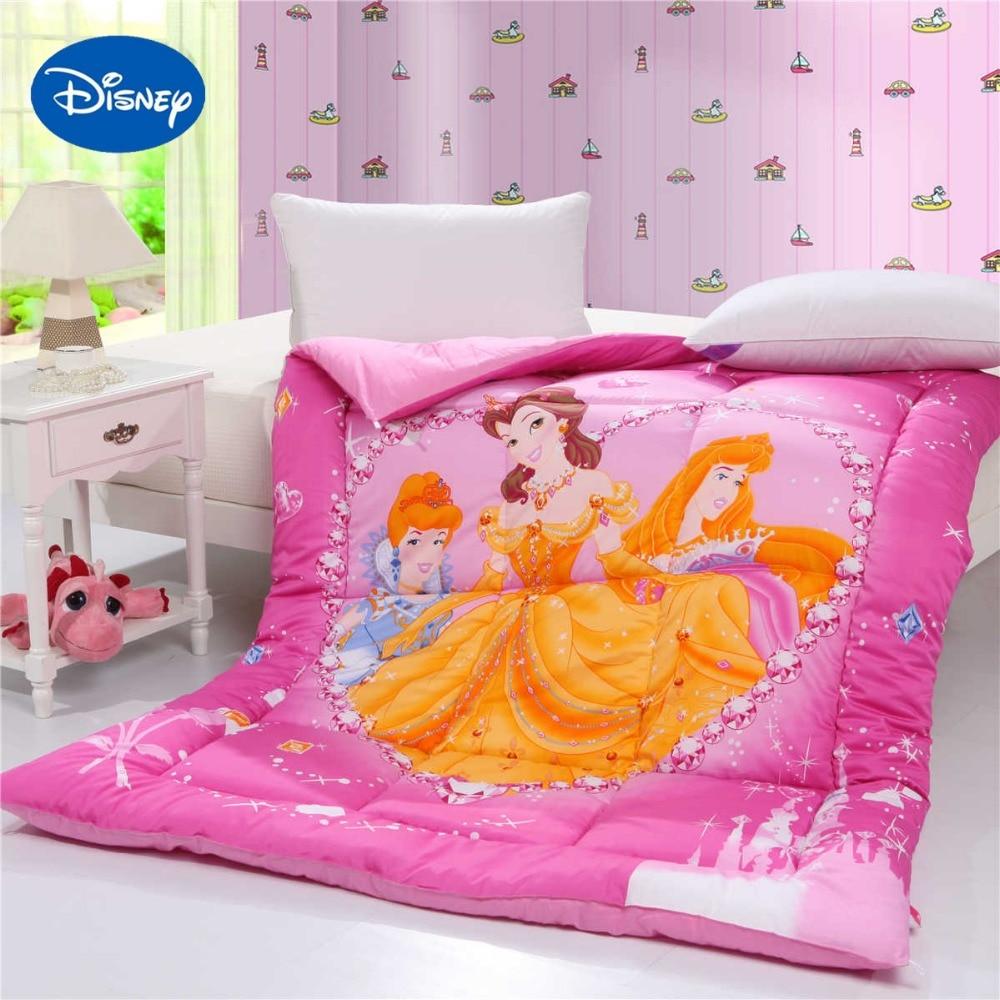 b531d4df84615 Disney Princess Edredons de Solteiro Rainha Meninas Acolchoado Tecido de  Sarja de Algodão Inverno Estação do Outono Rosa Cor Dos Desenhos Animados  Caráter