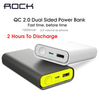 Rock Mini 10000mAh 2 0 Fast Dual Sided Charger Power Bank Powerbank External Battery Charger