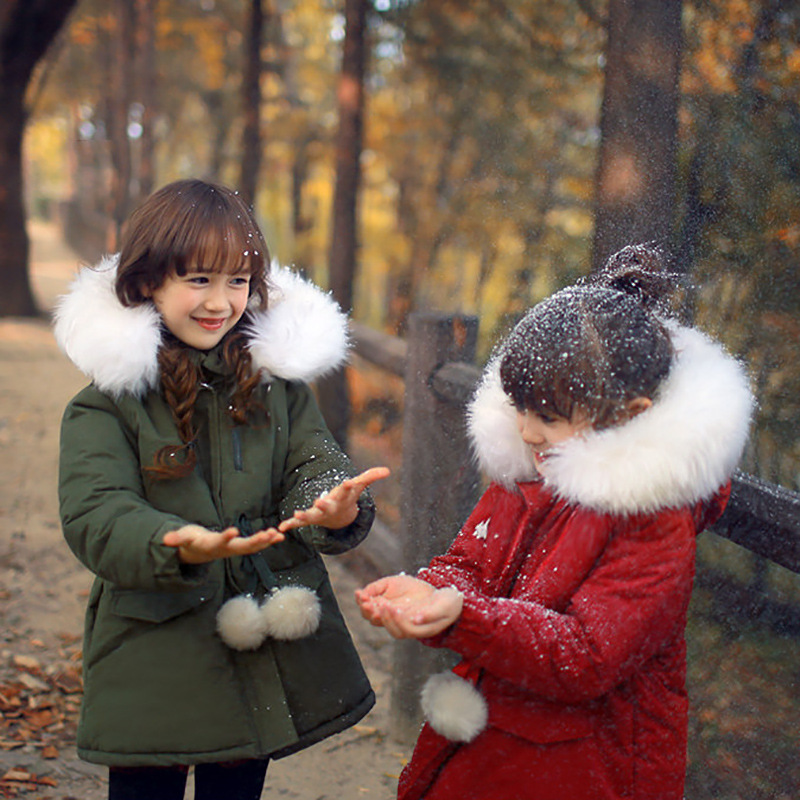 2016 Winter Girls coat jacket Cotton clothing new Children s long coat Thick cotton jacket Thickening