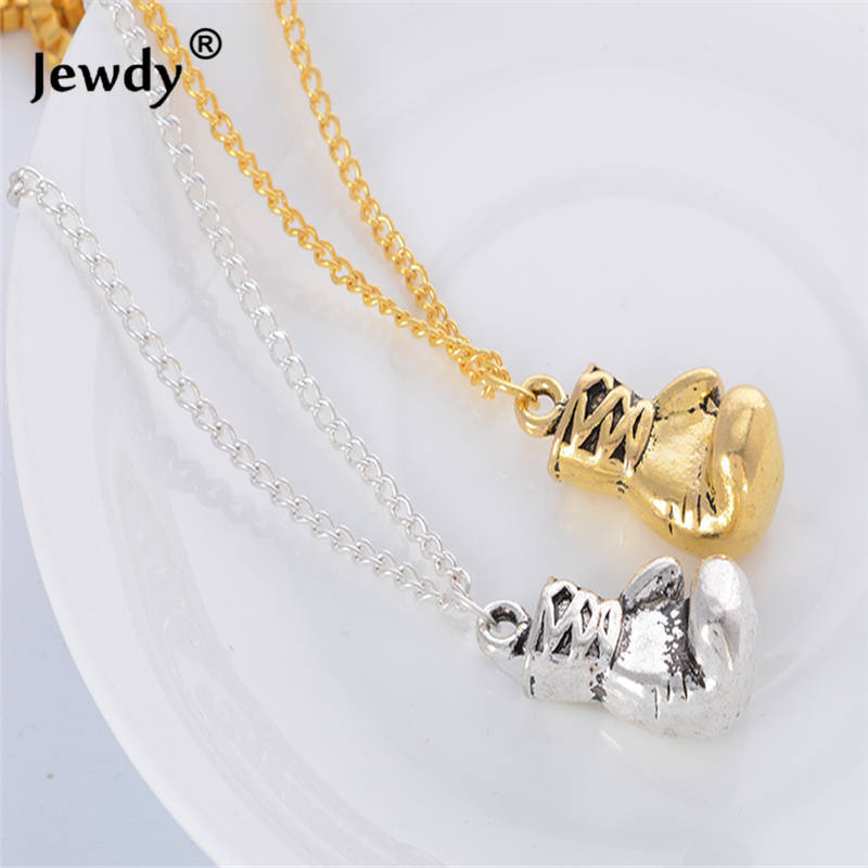 2017 Golden Boxing Glove Pendant Charm 316L Stainless Steel Necklace Sport Jewelry Yellow Chain For Men New
