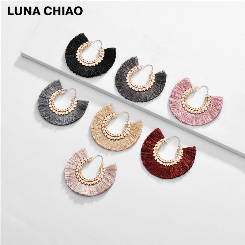 Dangle Earrings Jewelry Tassel-Drop Metal Luna Chiao Women Fashion Colors for Bijoux