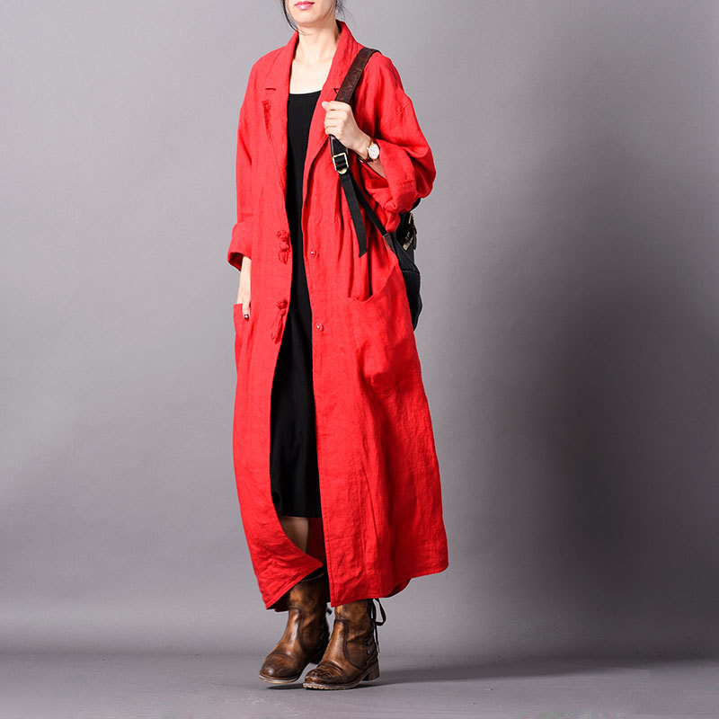 Women Spring Loose Cotton Linen Trench Coat Ladies Solid Color Plus Size Cotton Flax Outerwear Female Vintage Retro Long Coat
