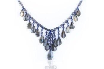Birthday gift,925 Silver With Natural Labradorite Gemstone Jewelry Necklace,Gem Customized,29x16x5mm 81.5g 62cm