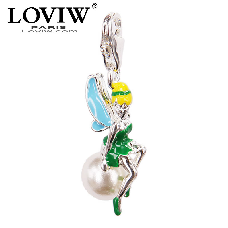 Vogue three dimensional Green elfin with pearl charm Tinker Bell pendant European Bijoux thomas sabor Jewelry Gift For Women DIY