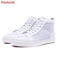 Для мужчин обувь Белый спортивный шнуровке обуви высокого качества с красной подошвой кроссовки кожаные мокасины 2018 мужской обуви весенне