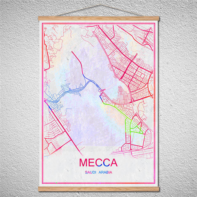 Customized Pattern With Frame World City Map of MECCA Vintage Poster ...