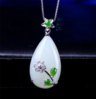 Koraba Vintage Flower S925 Sterling Silver Inlaid Natural Hetian White Jade Pendant Necklace Christmas Jewelry