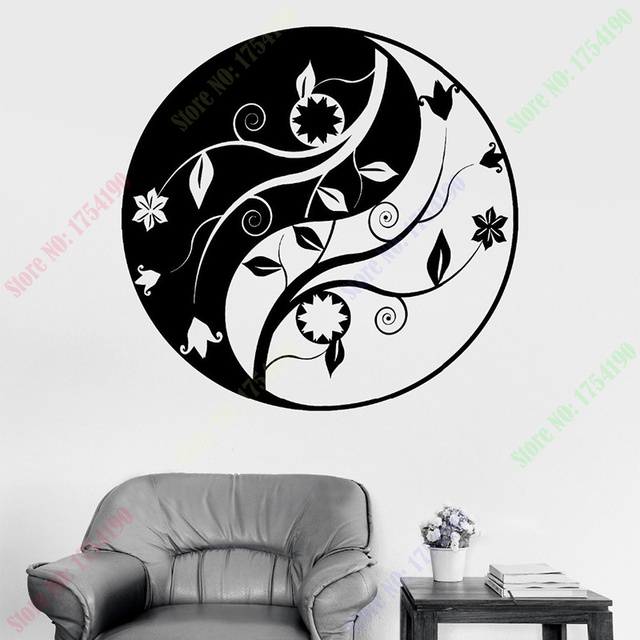 Free Shipping Buddha Yin Yang Mandala Om Chakra Zen Lotus Vinyl Sticker Home Decor Wall Stickers