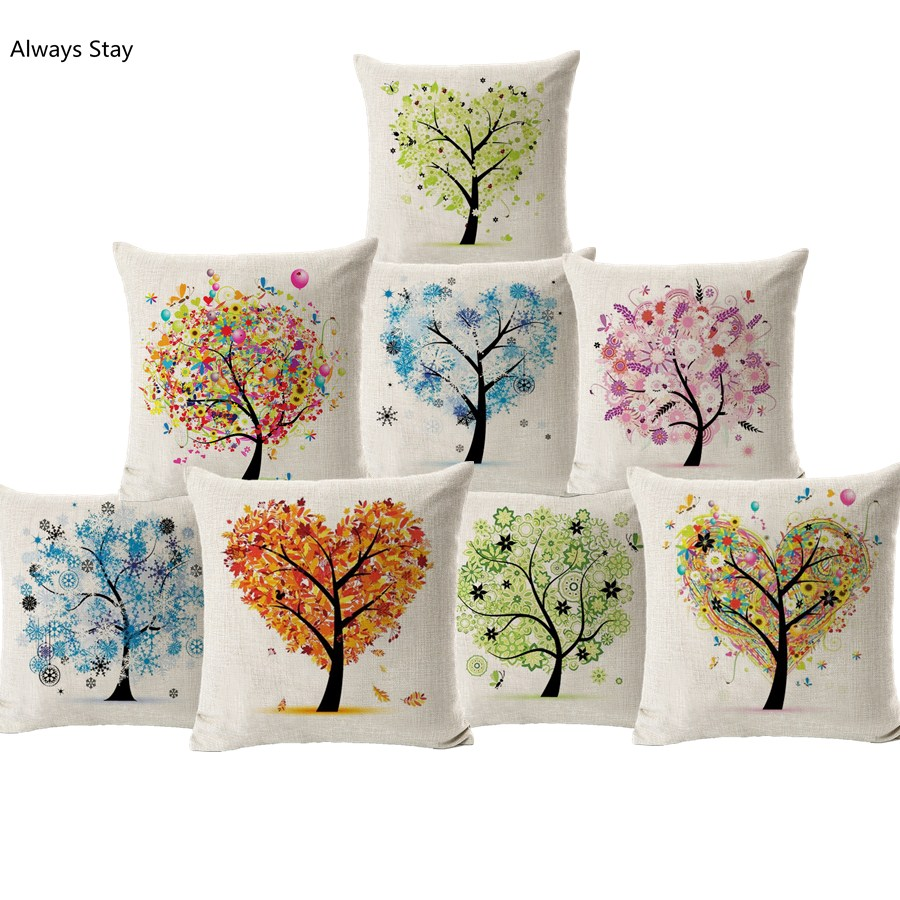 Love Tree Cushion Modern Style Colourful Heart Plant Printed Linen Cojines For Sofa Furniture
