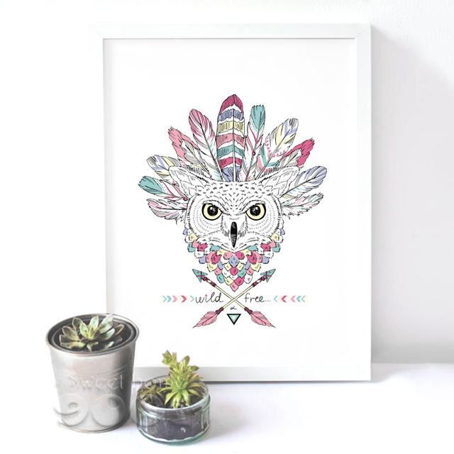 Native American Owl Art Print Painting Poster (No Frame Included)