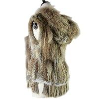 Harppihop fashion rabbit fur vest raccoon fur trimming knitted rabbit fur vest with hood fur waistcoat gilet