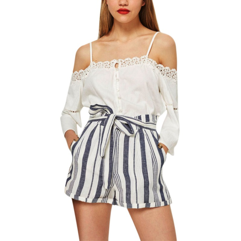 Women Summer Casual Trousers Elastic High Waist Shorts Loose Print Striped Lace-Up Pocket Shorts