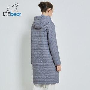 Image 4 - ICEbear 2019 جديد طويل المرأة معطف الخريف معاطف الإناث غير رسمية مقنعين المرأة ملابس طويلة ماركة سترة مع سستة GWC19039I