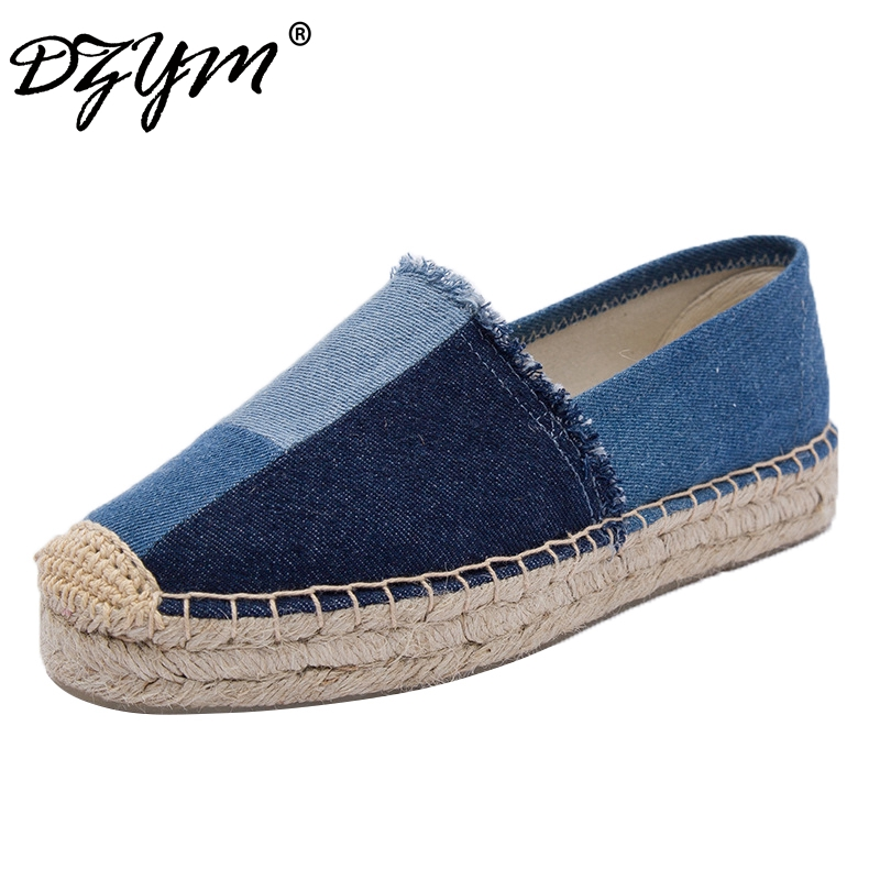 все цены на DZYM 2018 Spring Summer New Classic Canvas Espadrille Women Platform Flats Washed Denim Loafers Mixed Color Sewing Zapatos Mujer