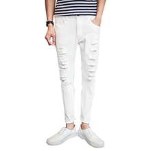 2016 НОВЫЙ джинсовой рваные джинсы для мужчин тощий Проблемные тонкий дизайнер байкер hip hop белый черные эластичные джинсы мужской Прямой(China (Mainland))
