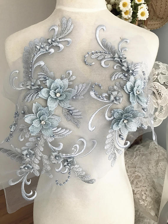 2 sets 3D pearl and rhinestone beaded lace applique set in Smoke blue wedding gown bridal dress