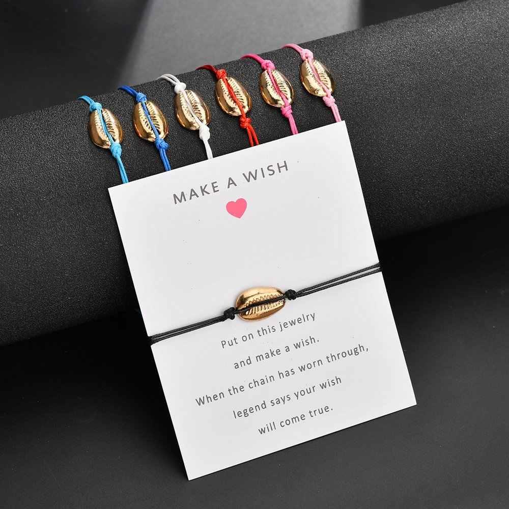 12 stylów karty papieru regulowana bransoletka bransoletki moda kobiety biżuteria zrobić życzenie Rope Chain proste prezenty muszle ręcznie robione
