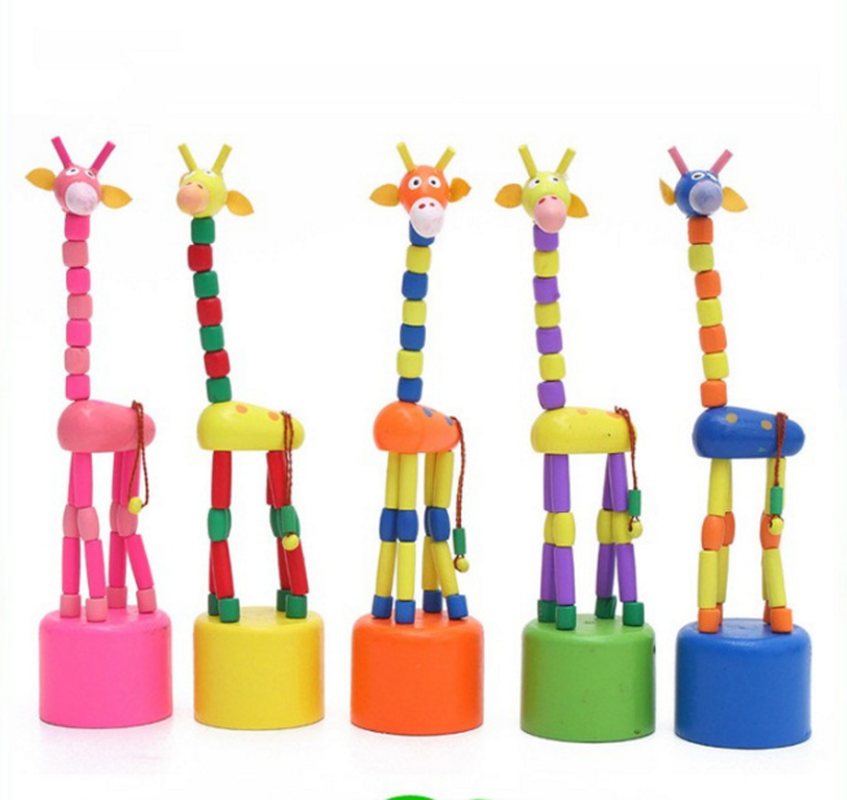 2019 New Kids Intelligence Toy Dancing Stand Colorful Rocking Giraffe Wooden Toys Levert For Children Random Color