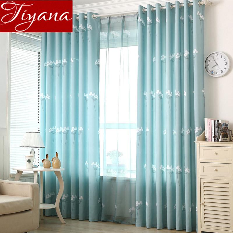 cortinas azul pura voile ventana panel de diente de len dormitorio sala de estar cortinas de