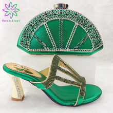 African Matching Shoes and Bag Set Decoraed with Rhinestone Sliver Color Matching Shoes and Bags for Wedding African Women Shoes