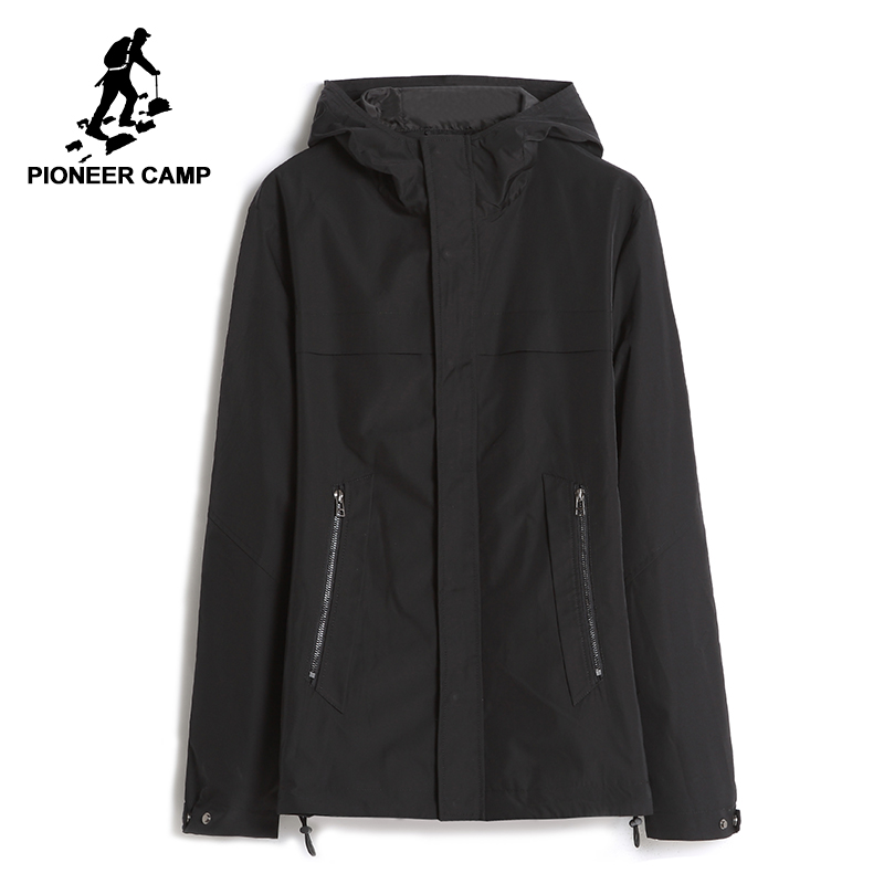 Pioneer Camp new casual men jacket coat brand-clothing black autumn spring hooded coat male top quality outerwear AJK705263 new winter hooded jacket men brand clothing male cotton autumn coat new top quality black long parkas men