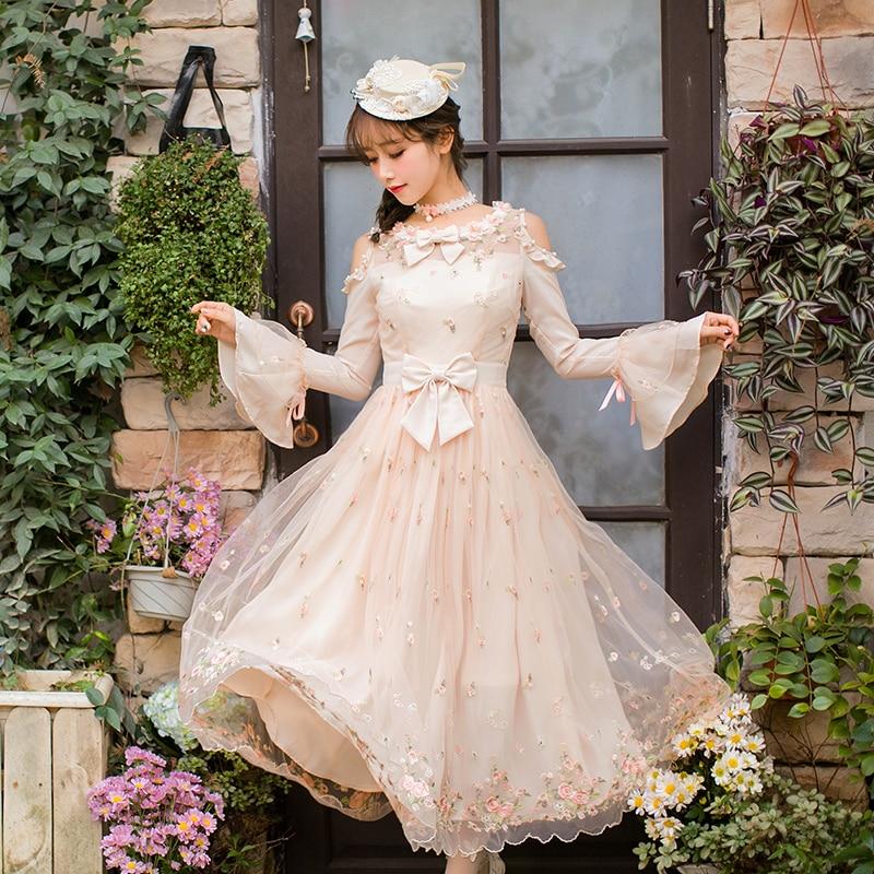 Permen Hujan Wanita Runway Dresses Cantik Long Sleeves Mesh Flower