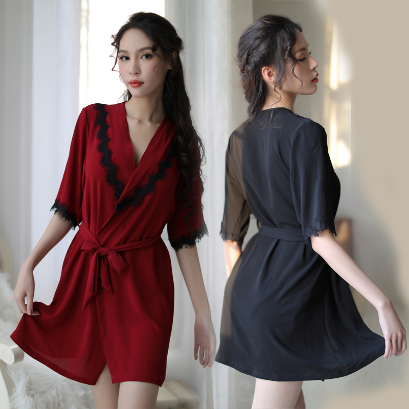 Dressing Gowns And Robes: Black Red Silk Robes For Women Sexy Lingerie Robe Lace