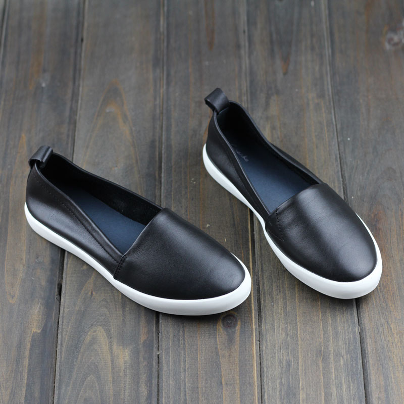 Shoes Woman Flats Genuine Leather Round toe Slip on Loafers Ladies Flat Shoes Skid proof Spring/Autumn Female Footwear (A008)