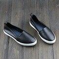 Zapatos de Mujer Pisos punta Redonda de Cuero Genuino Señoras de Los Zapatos Planos de Deslizamiento en Los Holgazanes antideslizante Primavera/Otoño Calzado Femenino (A008)